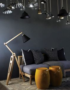 How tripod floor lamps are the best for your living room - Home Accessories Best of 2019 Dark Interiors, Beautiful Interiors, Interior Exterior, Interior Architecture, Black And White Interior, Yellow Interior, Interior Decorating, Interior Design, Design Interiors