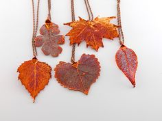 RESERVED - Copper Dipped Leaf Pendant on Long Necklaces by MaryMorrisJewelry on…