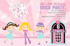 Cute Girl Disco Party Invitation, Kids Disco Invitations, Dance Invitations