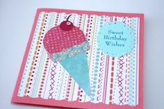 Pink Sweet Birthday Wish Card Ice Cream by SeasideDreamPaperie, $5.20