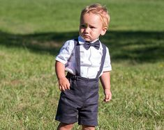 Boy linen suit Ring bearer outfit Baby boy baptism by Graccia