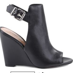 Schutz black wedges New in box black leather wedges. Will fit a 9.5 or size 10 with short toes. Shoe is a size 10 but trust me it's more like a 9.5 SCHUTZ Shoes Wedges