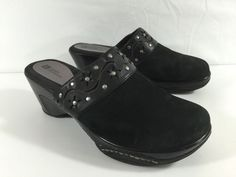 #WhiteMountain #Shoes #BlackSuede #SuedeLeather #StuddedClogs #WedgeClogs Womens Size 9.5 #WhiteMountainShoe #Clogs #Casual