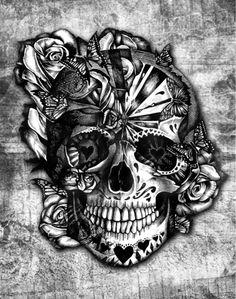 Sugar and Spice grunge candy skull. Art Print