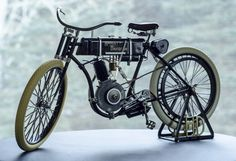 A 1903 Harley Davidson running on a single-cylinder 10.2 cubic inch motor. With it being rear wheel leather belt driven this thing got up to speeds of a brisk walk.