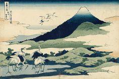 Hokusai  Les Trente-six vues du mont Fuji, 14e vue. « Le hameau d'Umezawa dans la province de Sagami » (Sôshû Umezawa-zai en Sagami)  Série de 46 planches, 36 estampes à cerne bleu et 10 planches supplémentaires à contour noir  Vers 1829-1833