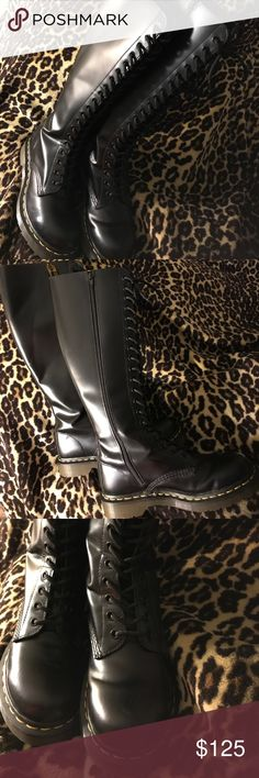 NWOT Tall 20 Eyelet Dr. Martens Sz8 (EU38, UK6) The Originals! This is a display boot, worn once in a fashion show. See photo for a scratch I didn't see until photographing. So slight, it was hard to capture. Otherwise, In mint condition! Shoes Combat & Moto Boots