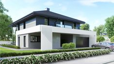 Find home projects from professionals for ideas & inspiration. Projekt domu HomeKONCEPT 60 by HomeKONCEPT Dream House Exterior, Dream House Plans, Modern House Plans, Architecture Extension, Modern Architecture, 2 Storey House Design, Small House Design, Casa Art Deco, Villa Design