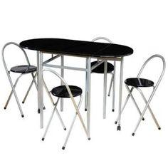 Table De Cuisine  Table pliable laquée et 4 tabourets noirs