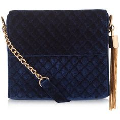 New Look Navy Velvet Quilted Tassle Shoulder Bag (140 CNY) ❤ liked on Polyvore featuring bags, handbags, shoulder bags, navy, velvet purse, tassel handbag, quilted handbags, navy purse and shoulder strap bags