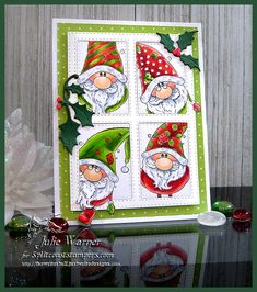 Christmas Card Ideas Christmas Gnomes 4 pane window card using Rubbernecker Stamps & dies, Copics to color - Julie Warner Christmas Cards Handmade Kids, Printable Christmas Cards, Christmas Cards To Make, Xmas Cards, Holiday Cards, Stamped Christmas Cards, Nordic Christmas, Etsy Christmas, Christmas Gnome
