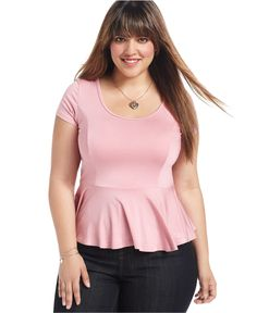 ING Plus Size Top, Short-Sleeve Peplum - Plus Size Tops - Plus Sizes - Macy's