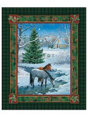 Blessed Are They Fabric Panel from Anniescatalog.com -- Horses stop to take a drink from the stream as they pass through this beautiful winter scene.