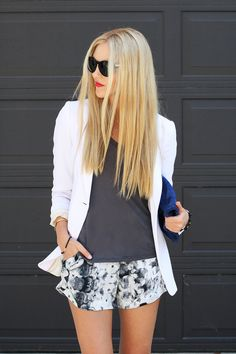 grey/white floral shorts + bright lips