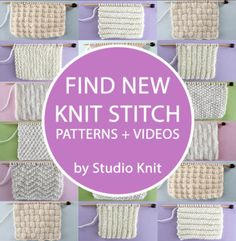 Find NEW Knit Stitch Patterns and Videos by Studio Knit for Beginning Knitters Dishcloth Knitting Patterns, Knitting Stiches, Lace Knitting, Knit Dishcloth, Knitting Help, Knitting Books, Vintage Knitting, Knit Stitches, Knitting Projects