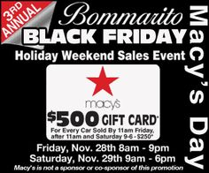 Black Friday deals! Friday-Saturday! Bommarito.com  #BlackFriday #AutoDeals