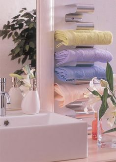 I just love this original shelving for towels! easy to install, and makes it easy to grab a towel with going out into the cold air