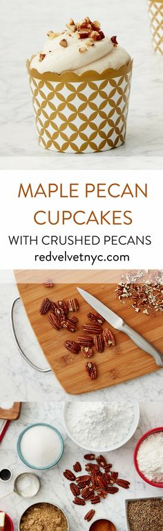 Pecans give a warm undertone to these rich cupcakes. Frosted with maple buttercream and garnished with fresh pecans, your house will fill with the smell of toasted nuts and cinnamon. Includes 24 oven-