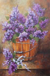Lilac painting french country wall decor flower art lavender purple shabby