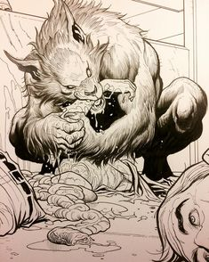 "13k Likes, 97 Comments - Frank Cho (@frankchoartist) on Instagram: ""Werewolf feasting, from Skybourne #4. Finished inking. I'm having blast writing and drawing these…"""