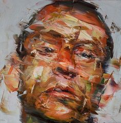 """Left to Right"" - Paul Wright, 2010 {contemporary figurative #expressionist artist male head #impasto man face portrait abstraction grunge texture painting} paul-wright.com"