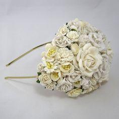 Ivory Bridal Hat Wedding Headpiece fascinator Vintage statement headband haircomb on Etsy, 676,06kr