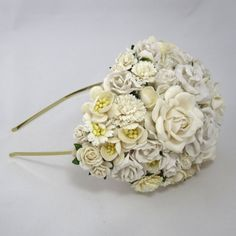 Ivory Bridal Hat Wedding Headpiece fascinator Vintage statement headband haircomb on Etsy, 676,06 kr