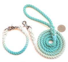 Ombre Rope Dog Collar & 5 ft Ombre Dog leash by EmiiDesignsStudio