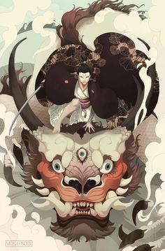 Man on top of a dragon illustration #art #digitalart #digitalpainting
