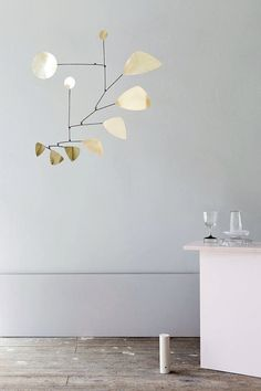 I'm totally smitten with those striking mobiles by German label Lappalainen! Handmade of brass, iron or copper their geometric shapes provide a subtle play of light, now that the days are getting long Handmade Furniture, Handmade Home Decor, Home Furniture, Automotive Furniture, Automotive Decor, Kitchen Furniture, Vintage Furniture, Furniture Design, Minimalism Living