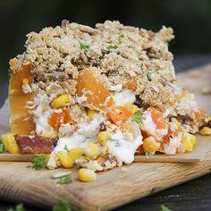 Golden Veggie Crumble Pie with Creamy Coconut Sauce