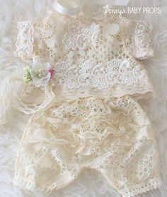 Lace Dress, Newborn Photography Props, Baby Girl Prop, Newborn Dress, Tieback, Baby Props,Cream Dress, Cream Props,Pastel,Neutral Props,Girl by ZorayaBabyProps on Etsy