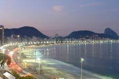 Night lights at Copacabana sbeach in Rio de Janeiro