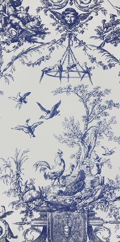 Rockwood Toile Wallpaper from Thibaut. A toile wallpaper with a classical theme featuring cherubs, animals and birds in navy on white. Also available as a fabric.