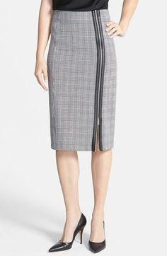 MICHAEL Michael Kors Plaid Zip Front High Waist Pencil Skirt available at #Nordstrom
