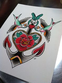Traditional Flash Rose & Anchor with Sparrows por GoldenBoughTattoo