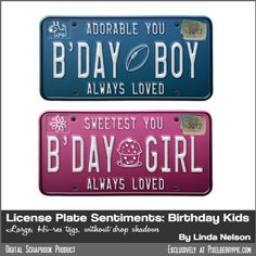 "Vintage License Plate Sentiments: ""So Proud, My Boy"" and ""So Sweet, My Girl"" - Pixelberrypie.com"