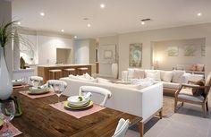 Gorgeous open plan area from the Seaspray home design - with adjoining home theatre! http://www.hotondo.com.au/home-design-seaspray340_129.aspx