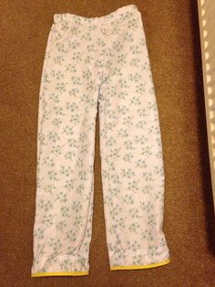 Easy pj pants again with French seams and yellow polka dot binding. Age 9 years.