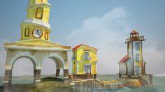 videojuego isla 3d lowpoly