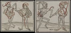 'Heidelberger Totentanz', was the first book in which the dance of death was portrayed. The author is unknown but it was printed by Heinrich Knoblochtzer in 1488 and contains a core series of 38 woodcuts in which the satricial emblem of death visits upon all manner of citizens. In most, the skeleton carries a musical instrument as a type of Pied Piper motif. The text, in a high German dialect, is addressed by death to its target.