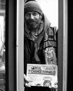 Steve has been chronically homeless for years, has been waiting for housing, and waiting, and waiting. He sold the award-winning REAL CHANGE street newspaper from 1998-2009 and last month he again became a vendor, selling over 300 papers in the first two weeks, earning him a place in the 300 CLUB, WOW! 7 days a week he sells the paper from 6AM to 10:30AM in Wallingford, out front of the Starbucks on 45th; stop by to 'Just Say Hello' and for $2.00 a paper, you'll be glad you did!