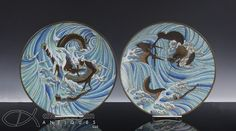 PAIR OF ANTIQUE JAPANESE CLOISONNE PLATES WITH DRAGONS