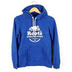 Roots Womens Size M Blue Pullover Hoodie Sweatshirt Cooper Beaver Canada Beaver Logo, Stretch Chinos, Hoodies, Sweatshirts, Outdoor Gear, Roots, Hooded Jacket, Short Sleeves, Hoodie