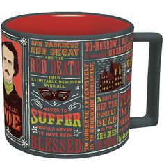 The Edgar Allan Poe mug is for tea-drinkers, coffee-drinkers and any fellow that fancies himself a tea-pot. This mug features Poe's likeness, as well as images and quotes from his iconic poems and stories. Makes any beverage mysterious! This mug is microwave and dishwasher safe and holds 16 oz.