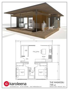Cabin Style House Plan - 1 Bed