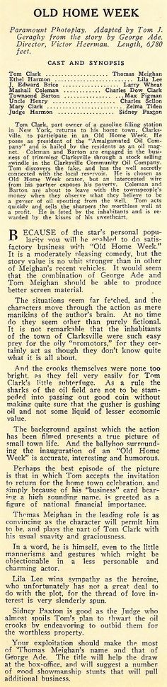1925: Old Home Week - Lila Lee; Exhibitor's Trade Review (June 6, 1925)