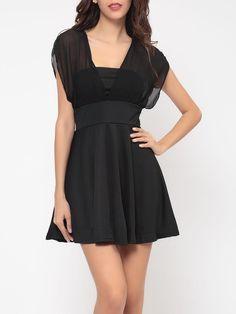 #BFCM #BlackFriday #CyberMonday #Fashionmia - #Fashionmia Plain Seethrough Bowknot Absorbing Skater-dress - AdoreWe.com