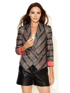 Metallic Striped Silk Blazer by Twelfth Street by Cynthia Vincent at Gilt