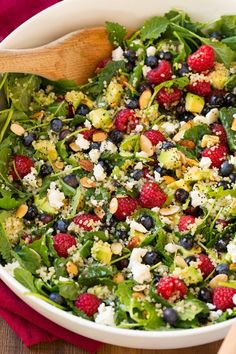 Berry+Avocado+Quinoa+and+Kale+Salad+with+Honey-Lime+Poppy+Seed+Dressing